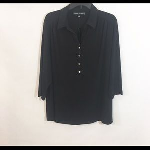 NWT Catherine Malandrino Black Button Blouse Sz 2X